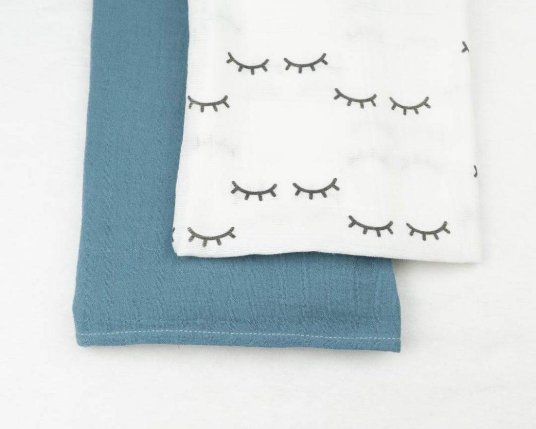 Musselintuch 2er Set mit Augen und blau
