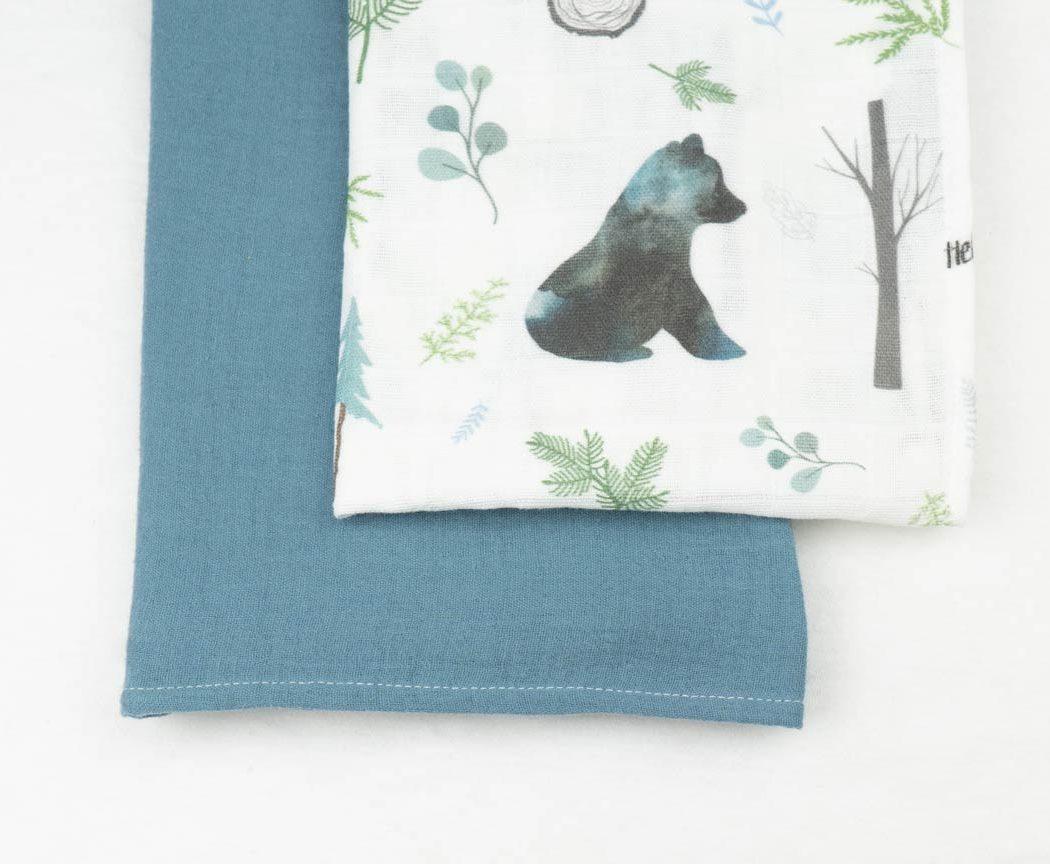Musselintuch 2er Set mit Bären und blau