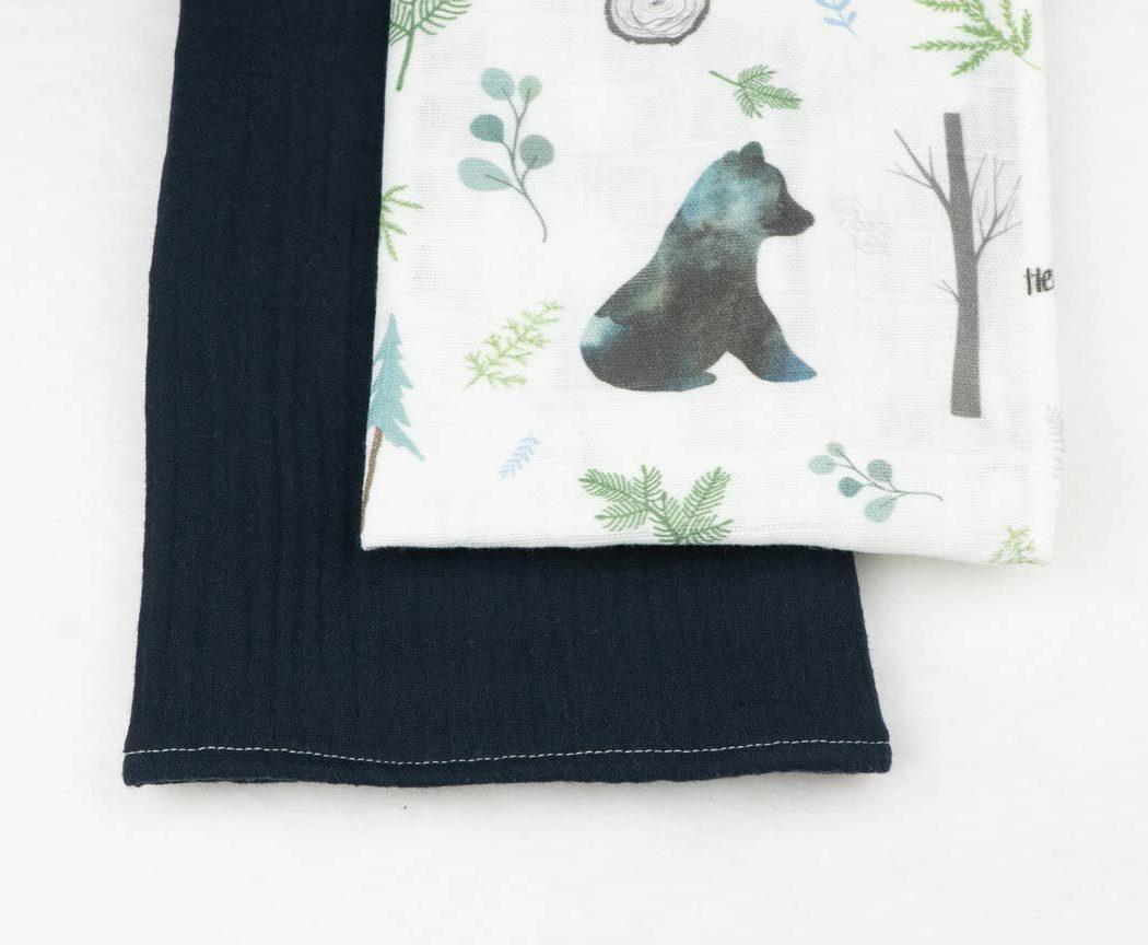 Musselintuch 2er Set mit Bären und dunkelblau