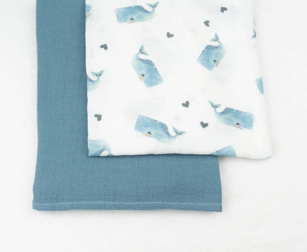Musselintuch 2er Set mit Wale und blau